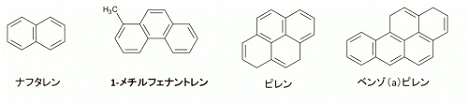 PAHs、アルキル化PAHsの構造式の例